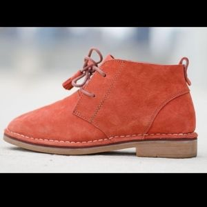 Hush Puppies Size 7 38 Orange Suede Ankle Boots